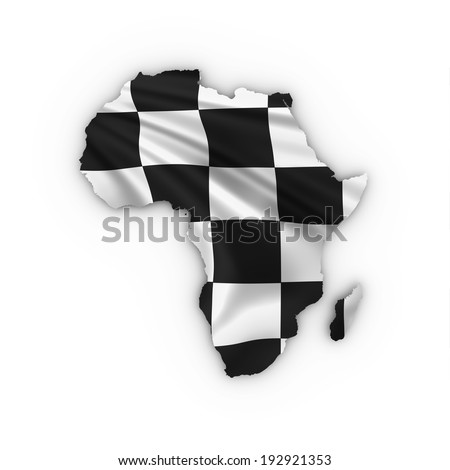 Africa a map showing a checkered flag. High quality 3D illustration. - stock photo