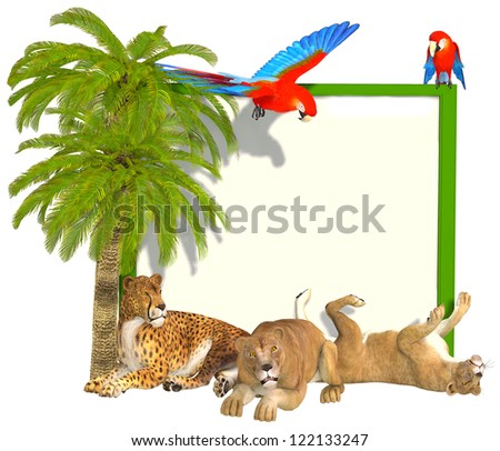 Africa animals frame - stock photo