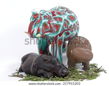 africa art elephant and hippos - stock photo