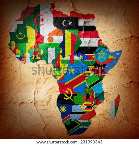 Africa,continent, flag, maps,and wall background - stock photo
