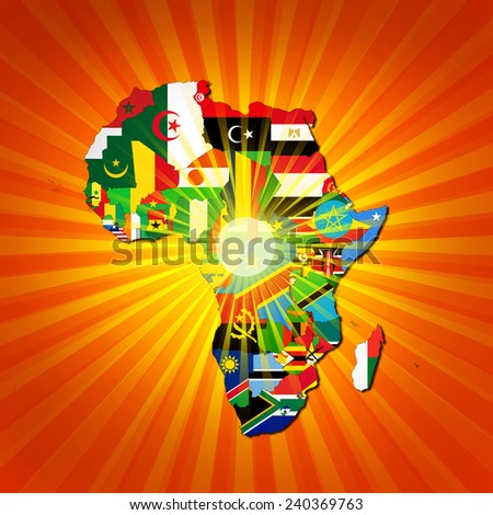 Africa,continent, flags, map and sun background - stock photo