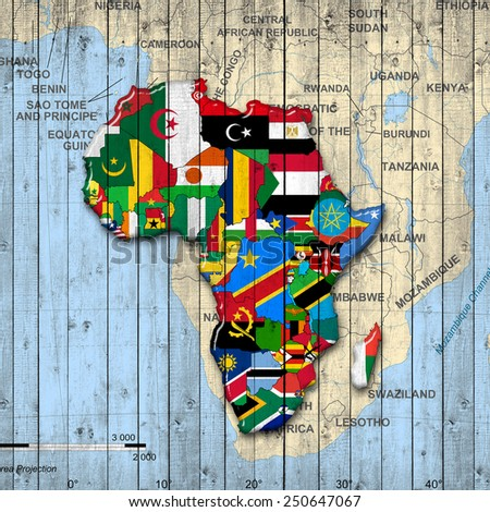 Africa,continent, flags, map and wood background - stock photo