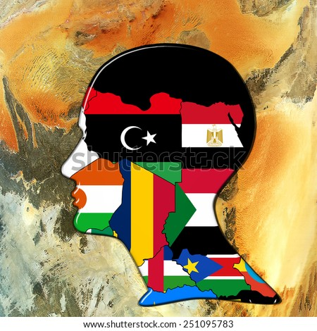 Africa,continent,human head, flags, map and wall background - stock photo