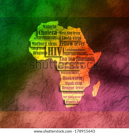 africa continent silhouette with diseases names - stock photo