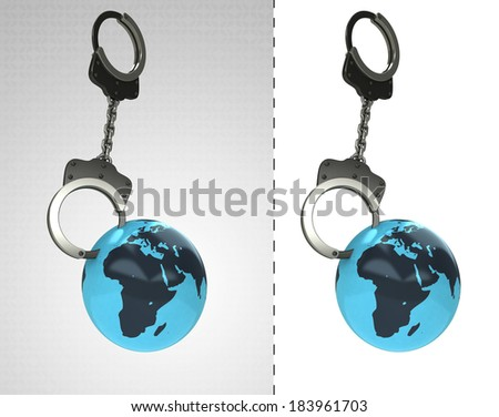Africa earth globe in chain as criminality concept double illustration - stock photo