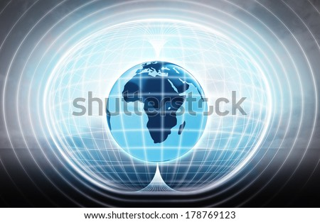 Africa earth globe stuck in energy capsule as science project illustration - stock photo