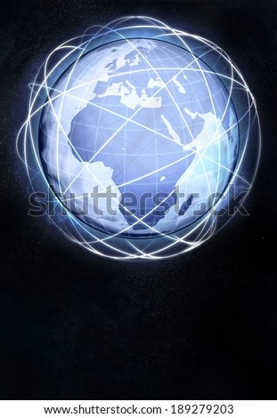 Africa earth globe view from cosmic space illustration - stock photo