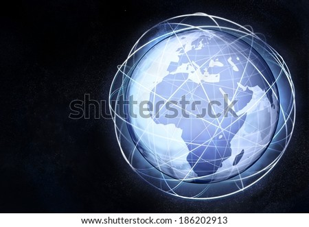 Africa earth globe view with traffic lines illustration - stock photo