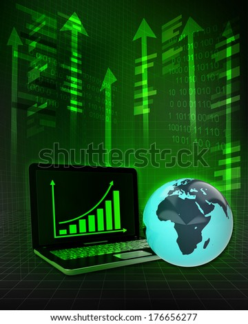 Africa earth globe with positive online results in business illustration - stock photo