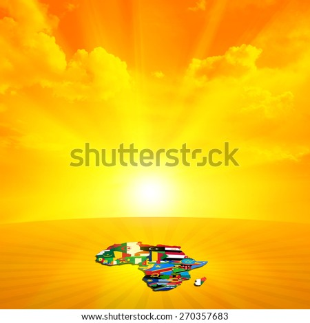 Africa flags,maps continent,sky, sun and clouds background - stock photo