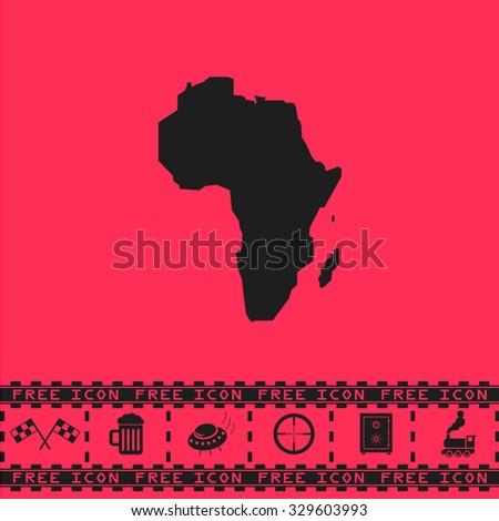 Africa Map. Black flat illustration pictogram and bonus icon - Racing flag, Beer mug, Ufo fly, Sniper sight, Safe, Train on pink background - stock photo
