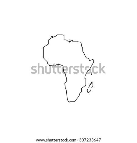 Africa Map. Outline black simple symbol - stock photo