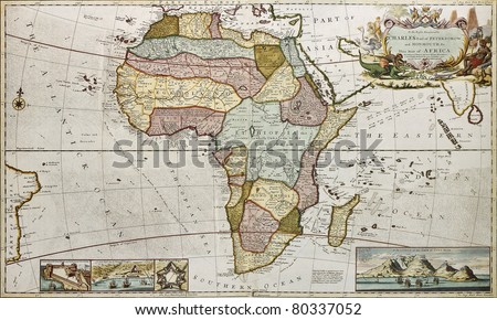 Africa old map. Created by Frederick Herman Moll, published in London, 1710 - stock photo