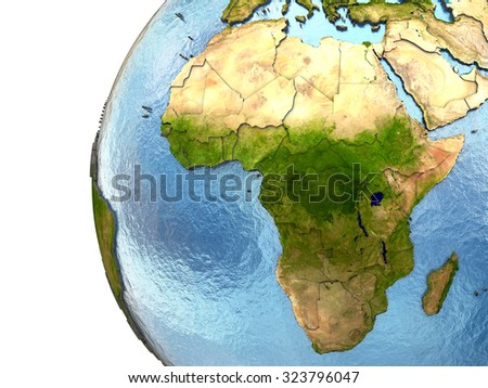 Africa on highly detailed planet Earth with embossed continents and country borders. Elements of this image furnished by NASA. - stock photo