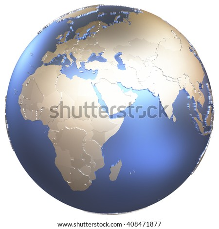 Africa on metallic model of planet Earth with embossed continents and visible country borders. 3D illustration isolated on white background. - stock photo