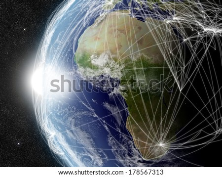 Africa region with network representing major air traffic routes. Elements of this image furnished by NASA. - stock photo