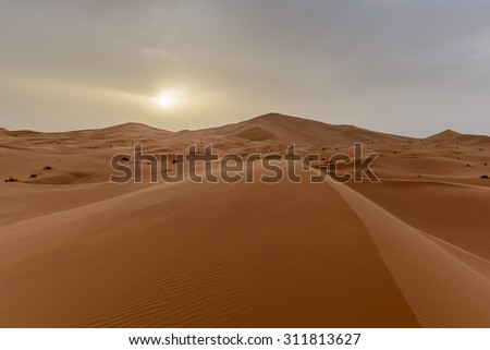 Africa - view of Erg Chebbi Dunes in Morocco- Sahara Desert - during sand storm - stock photo