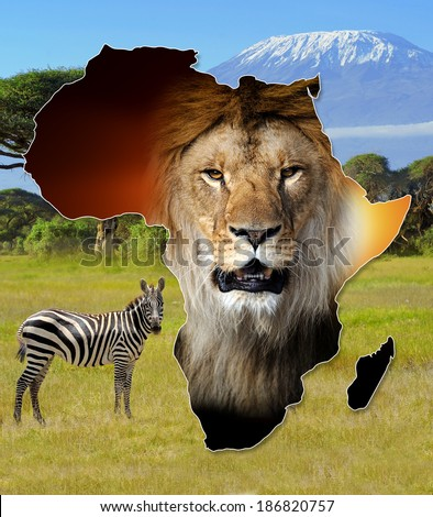 Africa Wildlife Map Design on african landscape - stock photo