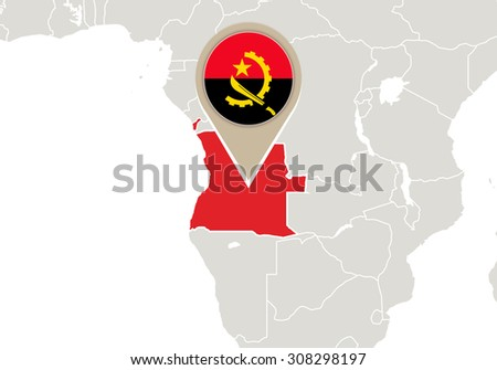 Africa with highlighted Angola map and flag, Rasterized Copy - stock photo
