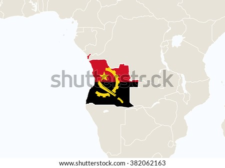 Africa with highlighted Angola map. Rasterized Copy.  - stock photo