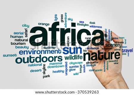 Africa word cloud - stock photo