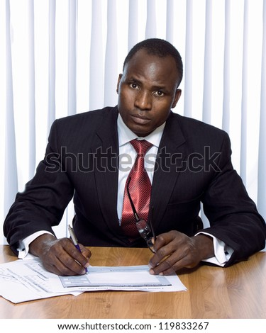 Africam americam business man - stock photo