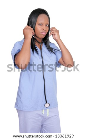 African American adult woman doctor with stethoscope over white - stock photo