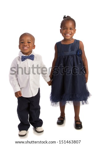 African American Brother and Sister Holding Hands Isolated on White background - stock photo