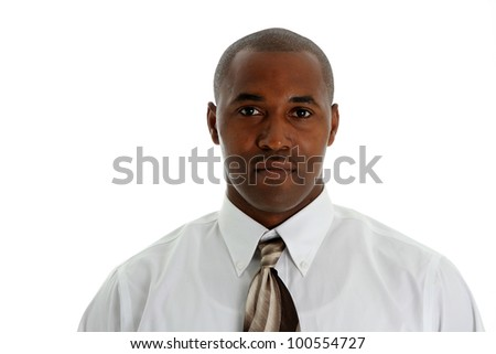 African american business man on a white background - stock photo