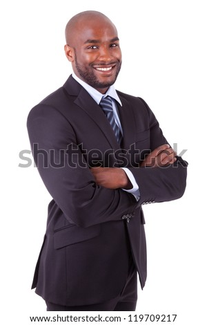 African American business man  with folded arms, isolated on white background - stock photo