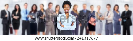 African-American business woman and group of workers people. - stock photo