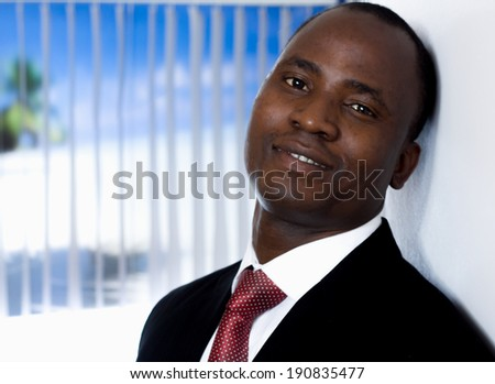 African American businessman , in office - stock photo