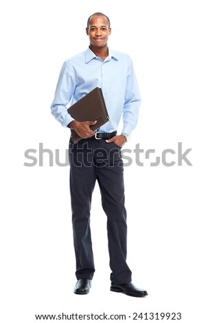 African American Businessman isolated white background. Student - stock photo