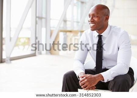 African American businessman looking away, horizontal - stock photo