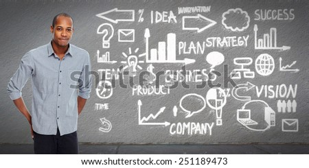 African american Businessman over business scheme background. - stock photo