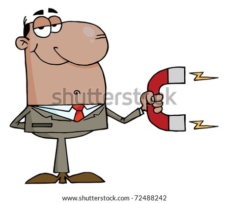 African American Businessman Using A Magnet - stock photo