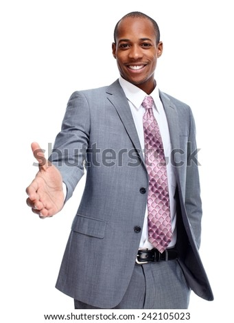 African-American businessman with a handshake. Business meeting - stock photo