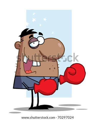 African American Businessman with Black Eye Wears Boxing Gloves,background - stock photo