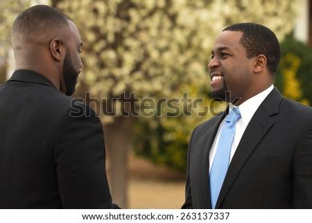 African American Businessmen talking - stock photo