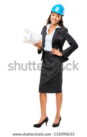 African American businesswoman architect holding blueprints isolated on white background - stock photo