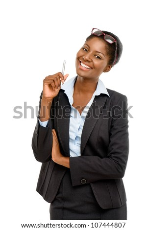 African American businesswoman on white background - stock photo