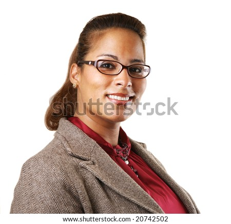African American businesswoman smiling, looking at camera. Isolated on white. - stock photo