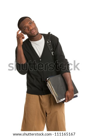 African American College Student Thoughtful Expression Casual Dressed Young Man Isolated on White Background - stock photo