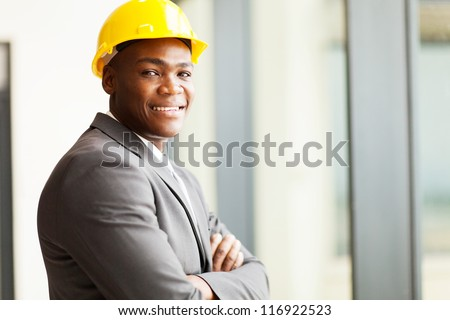 african american construction manager in office - stock photo