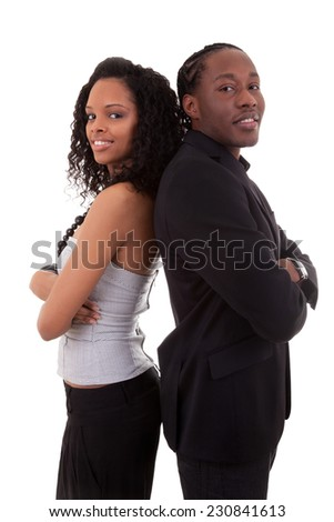 African American couple back to back - Black people, isolated on white background - stock photo
