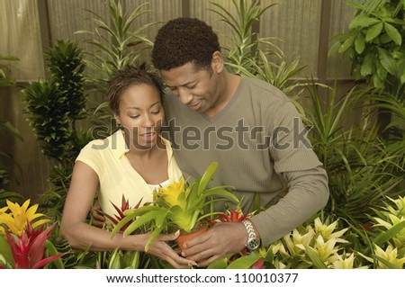 African American Couple buying potted plant at botanical garden - stock photo