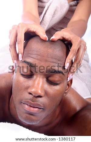 African American Couple - Massage - Relaxing - stock photo