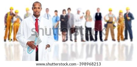 African-american doctor and people group. - stock photo