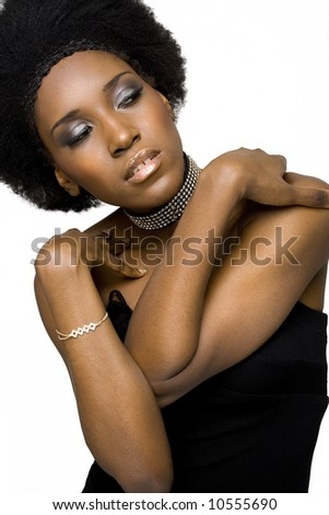 African American fashion model with afro hairstyle. - stock photo