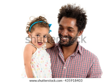 African American father and mulatto daughter together isolated on white background. Happy single parent. Man is wearing afro hair style and a color shirt. - stock photo
